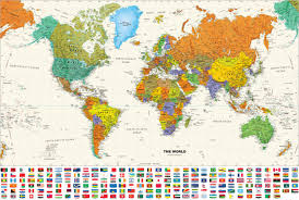 World Map Large by Contemporary World Wall Map With Flags