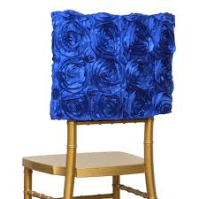 blue chair covers 6 pcs chair covers square top caps with ribbon roses party wedding