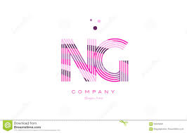 ng n g alphabet letter logo pink purple line icon template vecto