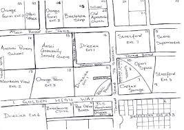 map of orange farm drawn by an orange farm cab member