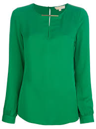 michael kors blouses lyst michael michael kors silk blouse in green