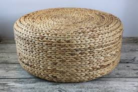 Basket Ottoman by Round Rustic Floor Cushions Floor Pouf Straw Pouf Pouf