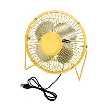Small Metal Desk Fan 4 Inch Usb Mini Fan Yellow