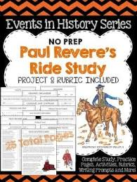 paul revere s ride book paul revere s ride study and project graphic organizers social