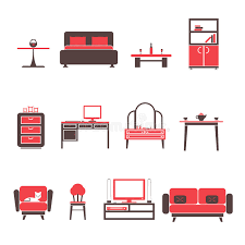 Furniture Set For Living Room by Flat Furniture Icons And Symbols Set For Living Room Isolated