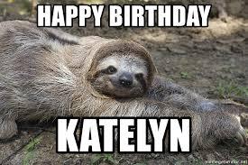Sloth Meme Maker - happy birthday katelyn birthday sloth meme generator
