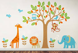 pink owls removable kids wall decals nursery stickers decorating safari playland removable kids wall decals cute friendly jungle animals big small leaves top quality vinyl