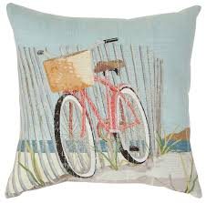 amazon com brentwood nantucket bike decorative pillow one size