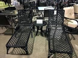 Black Cast Aluminum Patio Furniture Aluminum Strap Chaise Lounge Patio Chair Cast Aluminum Patio
