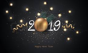 Happy New Year 2019 background with Christmas light and decoration
