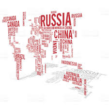 World Map Russia by World Map Illustrated With Countries Names With Perspective Shadow