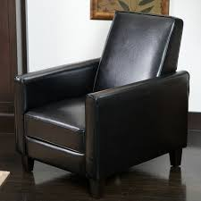 Black Leather Recliner Darvis Black Bonded Leather Recliner Club Chair By Christopher