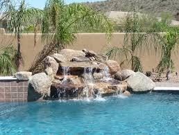pools with waterfalls rock waterfall pool ideas true blue pools