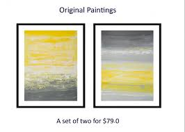 set of two original painting abstract diptych painting yellow gray