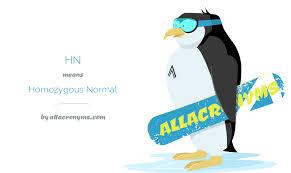 Normal Hn hn abbreviation stands for homozygous normal