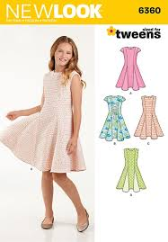 girls sized for tweens dress new look sewing pattern no 6360 age
