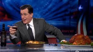 stephen colbert reenact a thanksgiving dinner eater