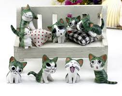 Cat Garden Decor 9pcs Cat Garden Ornament Miniature Cartoon Resin Figurine Craft