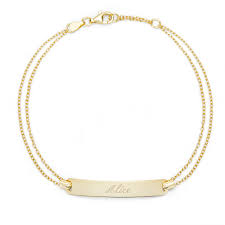 astounding design gold bracelet with name engraved in