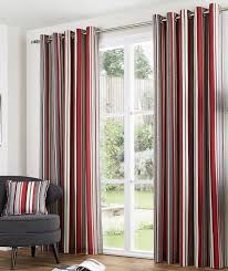 melody eyelet lined curtains 66 x 54 stripe red burdy cream grey ready made pair woven cotton hallways co uk kitchen home