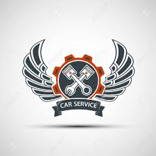 car service logo engine logo with plungers wings and a tool wrench car service