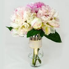 peony arrangement baby pink fuchsia silk peony arrangement flovery