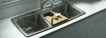 KOHLER Cast Iron Primary Kitchen Sinks Triple Basin Trieste - Triple sink kitchen