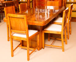 antique art deco walnut dining table u0026 6 chairs c 1920