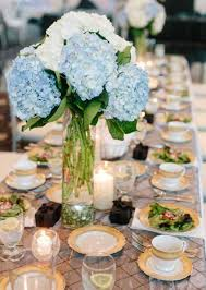 hydrangea centerpieces blue and white hydrangea wedding centerpiece at carrick