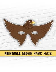 halloween mask printable hawk mask kids party mask halloween mask brown bird mask