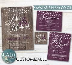 rustic wedding invitation kits purple rustic wedding invitations plum eggplant purple wood