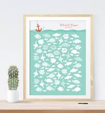 sign in guest book wedding guest book alternative print nautical wedding fish