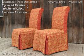 slipcovered parsons chairs rolled back chameleon fine furniture