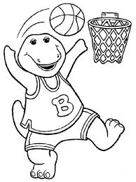 barney playing basketbal making score colouring barney