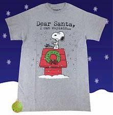 snoopy christmas t shirts peanuts l sleeve regular size t shirts for men ebay