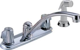 Delta 2400lf Classic Two Handle Kitchen Faucet With Spray Chrome