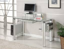 Modern Office Table With Glass Top Furniture Stunning Rectangular Clear Glass Top Computer Desk With