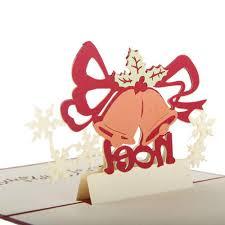 christmas bell 3d laser cut pop up paper handmade postcards custom