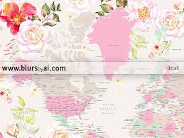 World Map Mexico by Printable World Map With Cities Pastel Florals Large 36x24