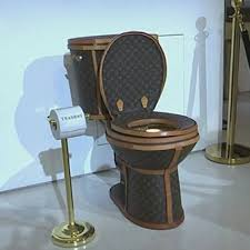 100k louis vuitton golden toilet on display at tradesy showroom