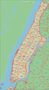 New York City Attractions Map by Postal Areas Zip Codes New York Map