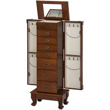 brown jewelry armoire wooden jewelry armoire cabinet brown best choice products