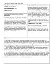 Count Of Monte Cristo Summary Reaction Paper The Count Of Monte Cristo Documents Course