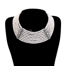 multi layered black necklace images Elegant multi layered simulated pearl choker statement fashion jpg