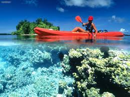 nature kayaking in calm clear water kennedy island solomon