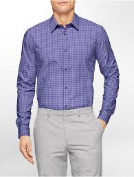 Cool Tech by Calvin Klein White Label Classic Fit Ombre Check Non Iron Cool
