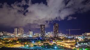 Honolulu City Lights Honolulu Hawaii Evening Downtown City Timelapse Featuring Swirling