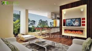 kitchen living room interior rendering design studio delhi