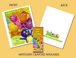 backyardigans personalized coloring book crayons favor
