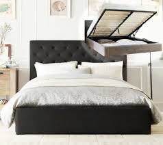 Box Spring Free Bed Frame by Chester Gas Lift Double Queen King Size Grey Charcoal Fabric Bed